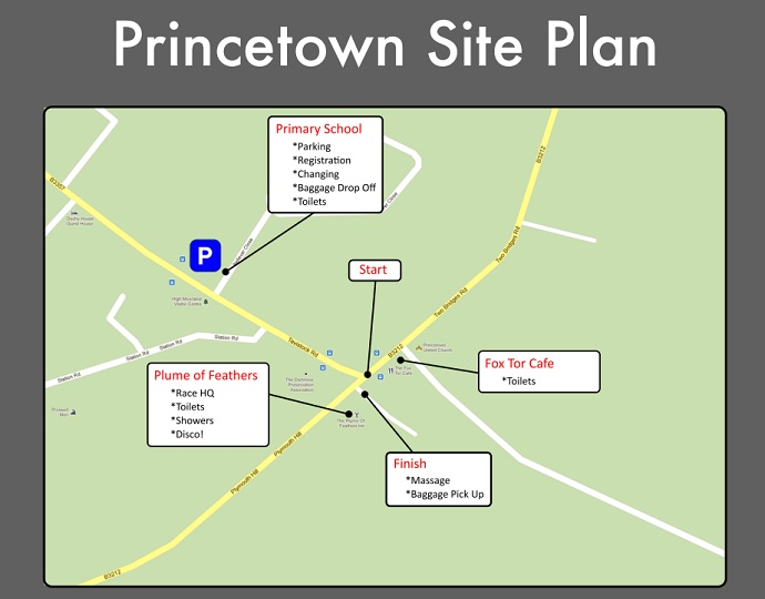Princetown site plan for Dartmoor Discovery race