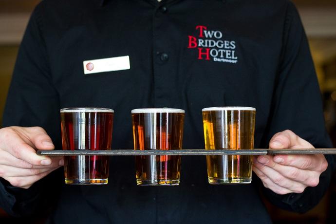 Trio of Dartmoor Brewery ales at Two Bridges Hotel