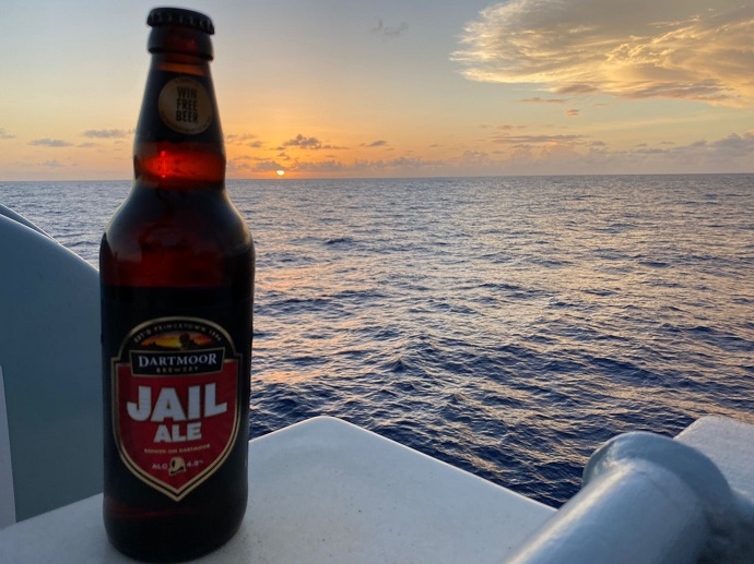 Jail Ale on Royal Navy Warship at sunset