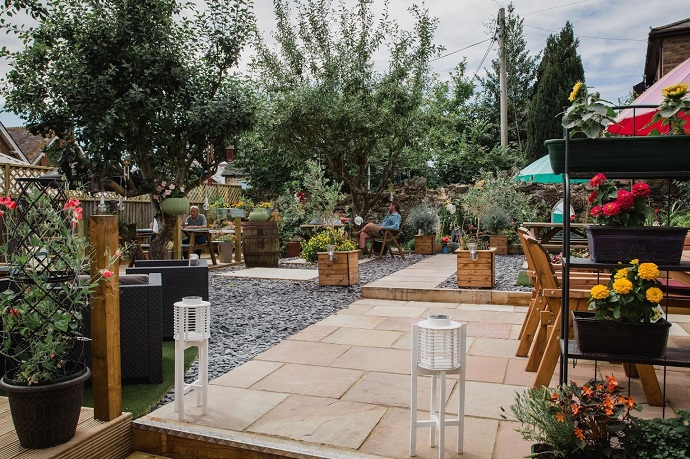Beer garden at the Bell Inn in Bovey Tracey