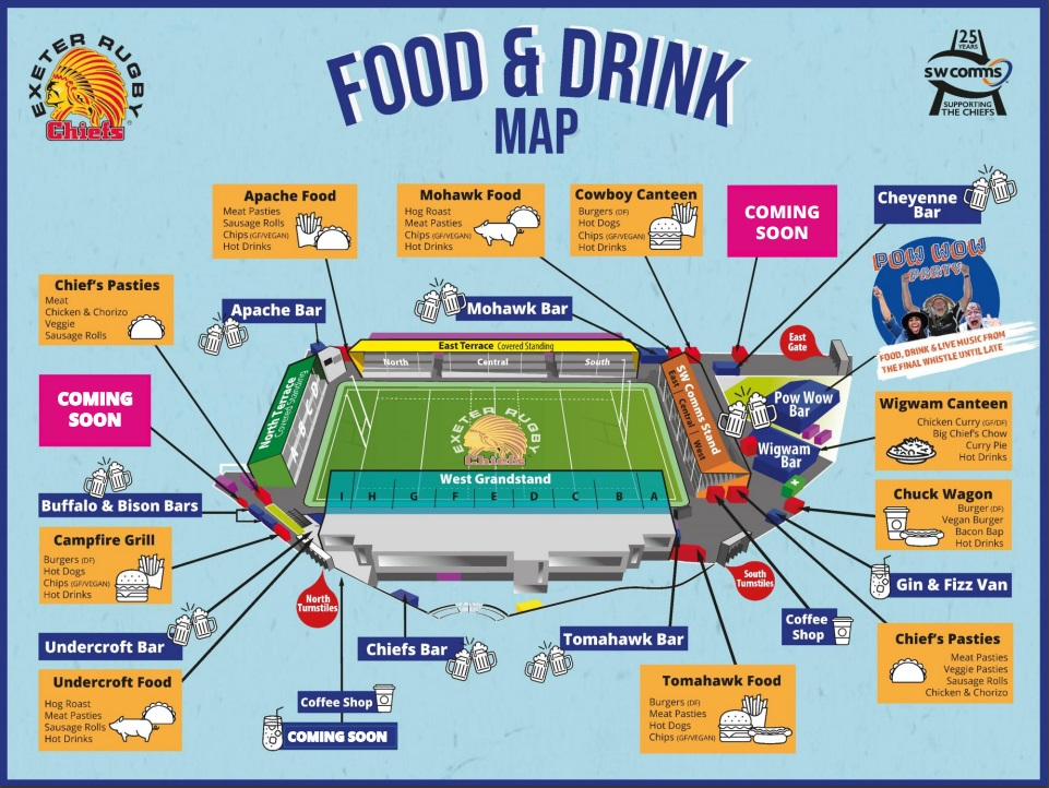 Exeter Chiefs food and drink map
