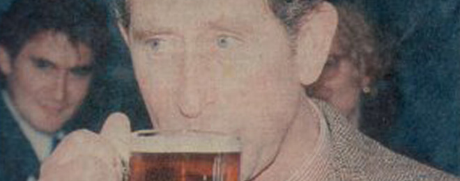 HRH enjoys a pint!