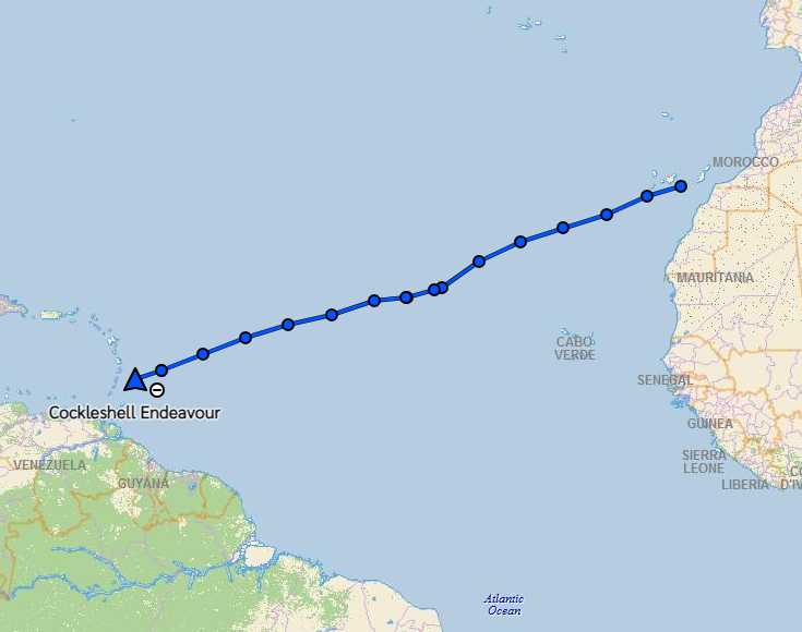 Map of Atlantic crossing